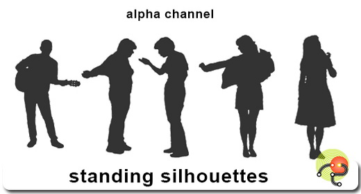 Silhouettes of standing people