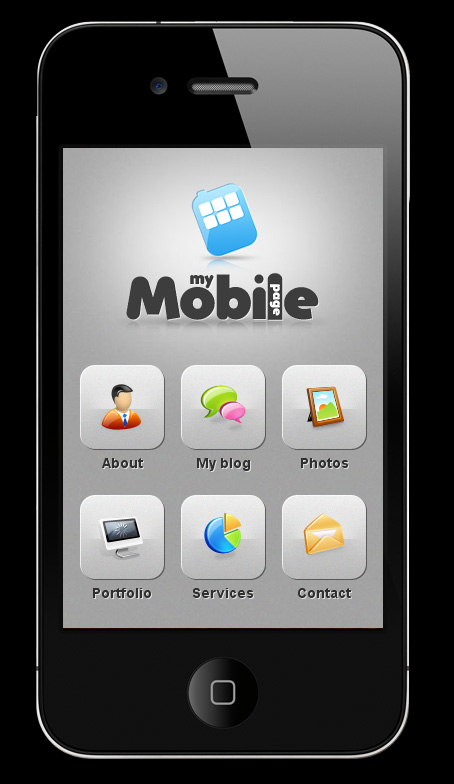 My Mobile Page V2 Wordpress Theme - main page with menu icons