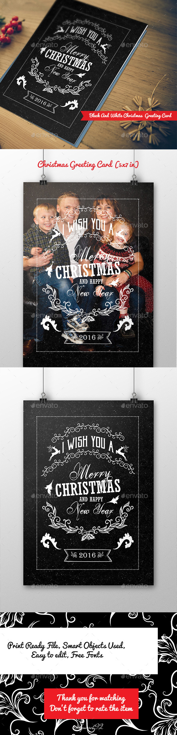 Black and White Christmas Greeting Card