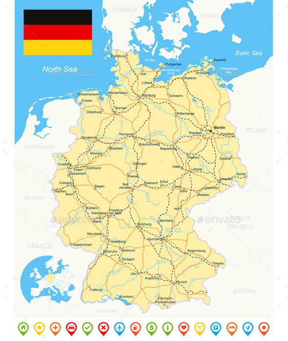 Germany Map, Flag, Navigation Icons, Roads, Rivers.