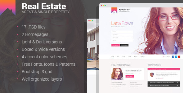 Real Estate – Agent & Single Property PSD template (Business) images