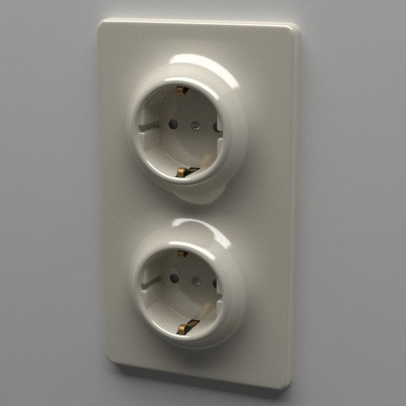 Double Schuko Socket - 3DOcean Item for Sale