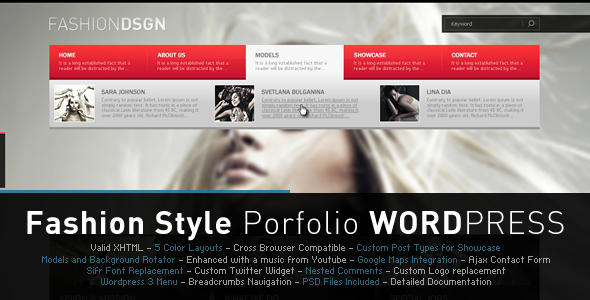 Fashion Design (Portfolio & Blog WP Theme) - ThemeForest Item for Sale