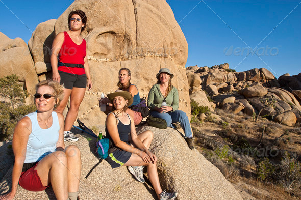 Group of women hiking. - Stock Photo - Images