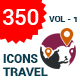 350 Flat Travel Icons