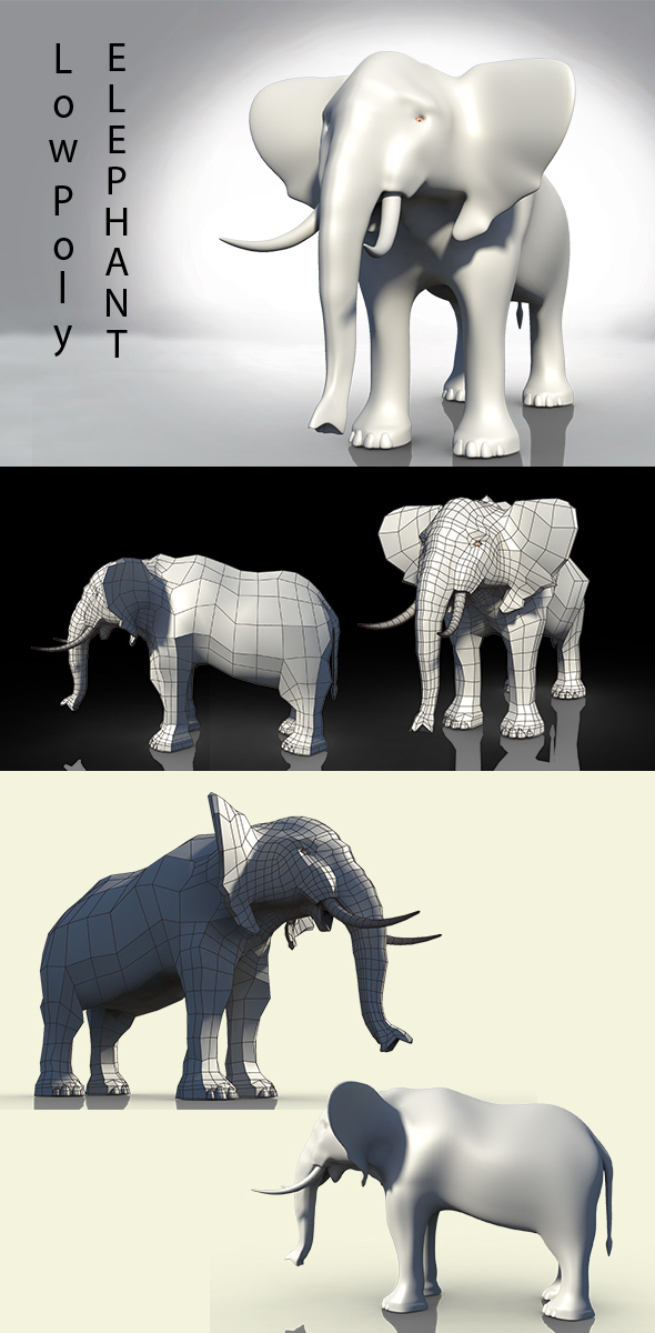 Low Poly Elephant - 3DOcean Item for Sale