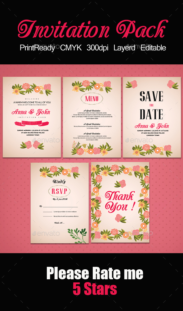 Pink Invitation Pack Templates