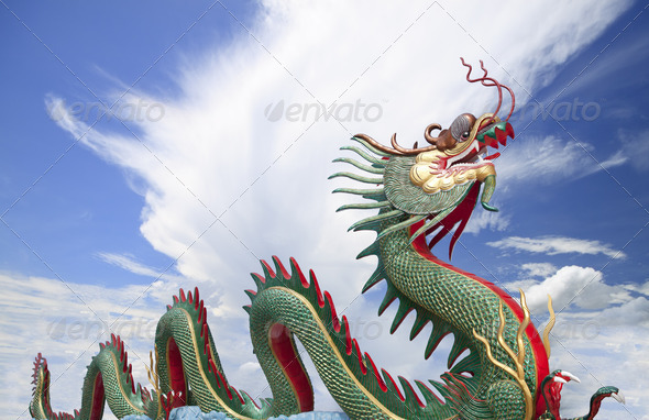Giant Chinese dragon at WAt Muang - Stock Photo - Images