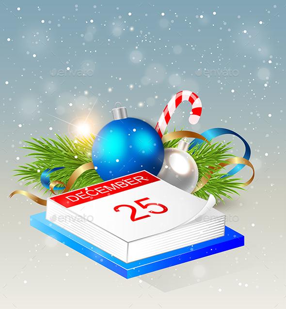 Calendar and Blue Decorations