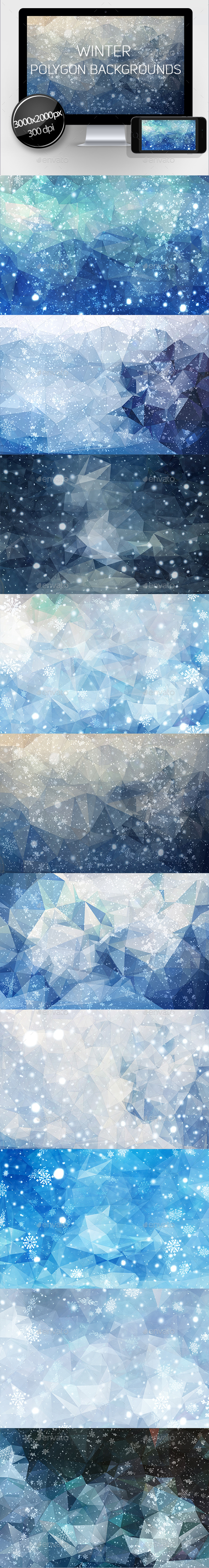 Winter Polygon Backgrounds