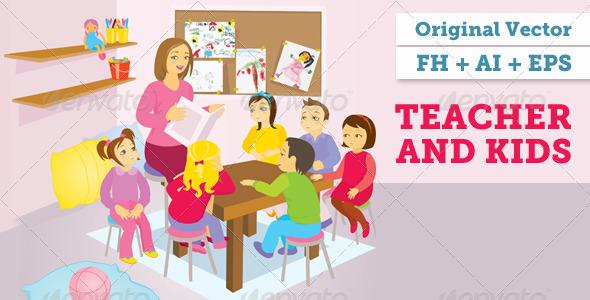 Teacher And Kids Vector Illustration