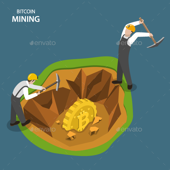 Bitcoin Mining Isometric Flat Vector Concept.