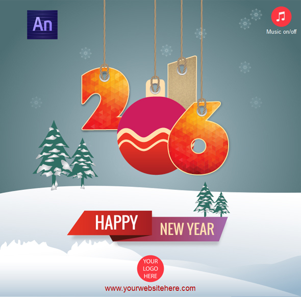 Happy New Year 2016 Greeting Card - CodeCanyon Item for Sale