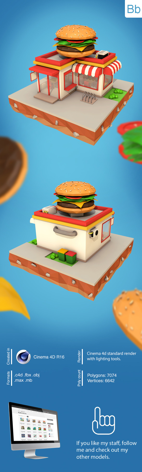 Low Poly Burger Cafe - 3DOcean Item for Sale
