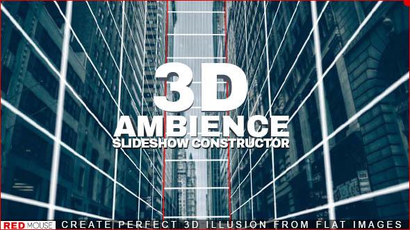 AE模板-时尚静态图片转三维动态3D摄像机推拉旋转焦距景深动画幻灯片模板