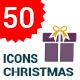50 Christmas Flat gift icon set