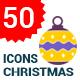 50 Flat Christmas Ball Icons