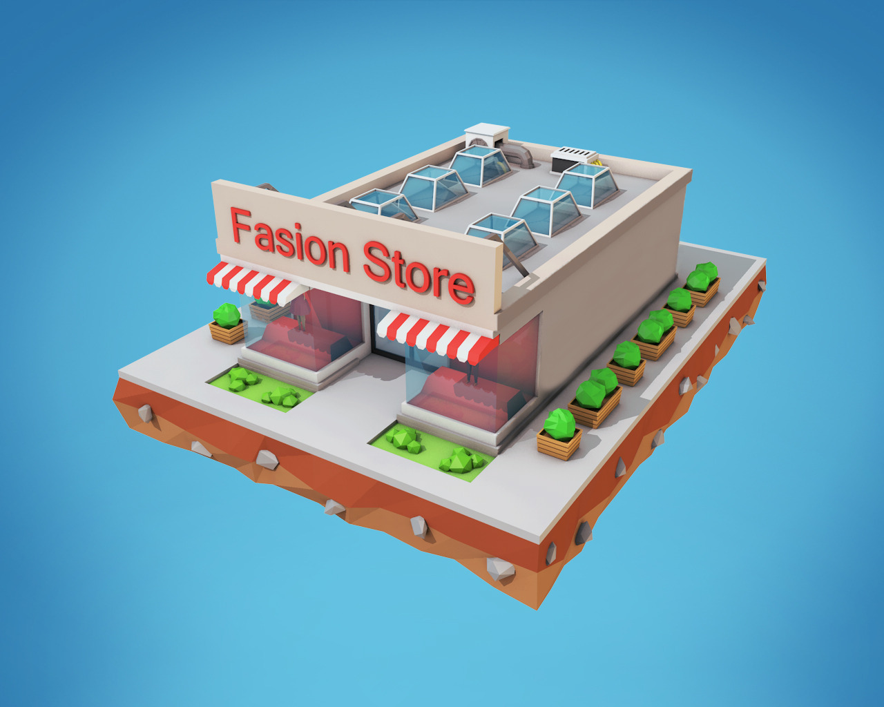 Low Poly Fashion Store by BigBallsStudio | 3DOcean