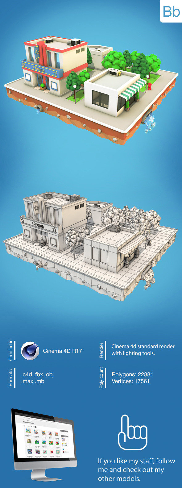 Low Poly City Block2 - 3DOcean Item for Sale