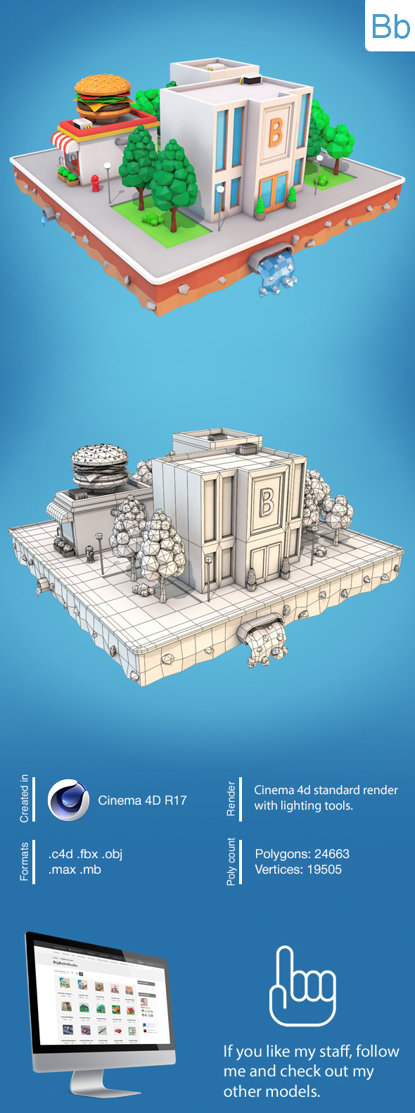 Low Poly City Block4 - 3DOcean Item for Sale