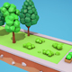 Low poly trees bushes flowerbeds