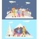 Winter Family Trip Concept Flat Design Icon