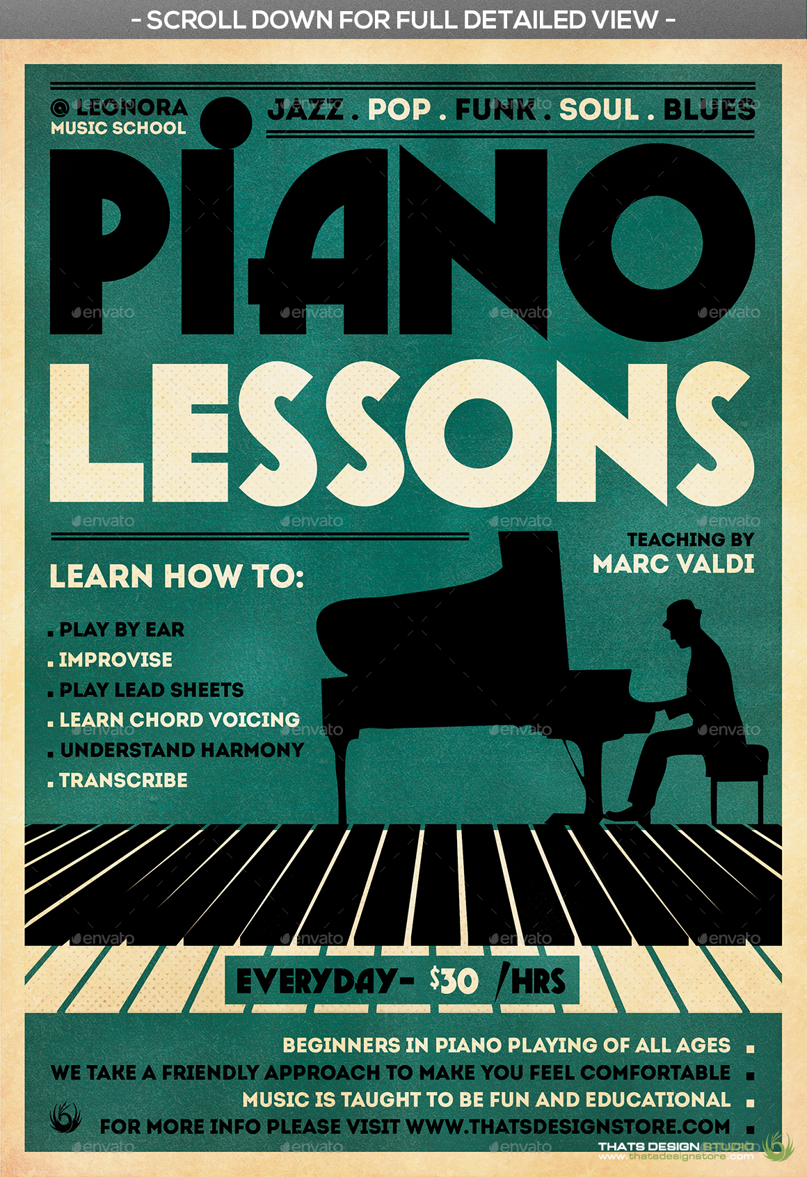 piano lessons flyer template by lou606 graphicriver. Black Bedroom Furniture Sets. Home Design Ideas