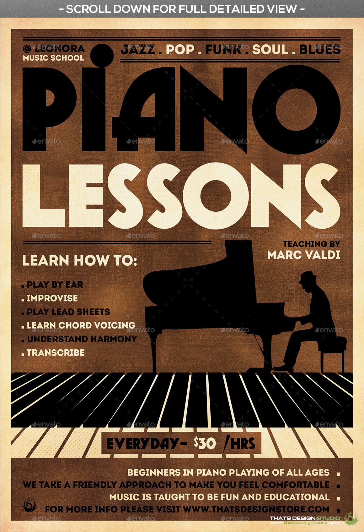 piano lessons flyer template by lou606