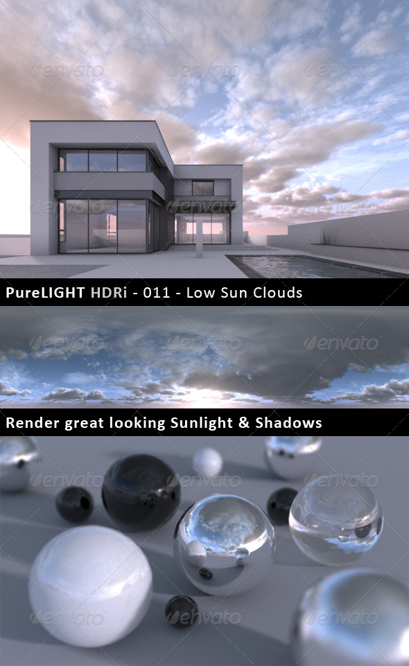 PureLIGHT HDRi 011 - Low Sun Clouds - 3DOcean Item for Sale