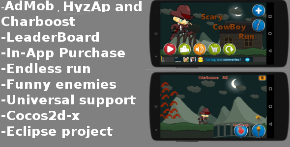 Scary Cowboy Run-AdMob-Chartboost-LeaderBoard - CodeCanyon Item for Sale