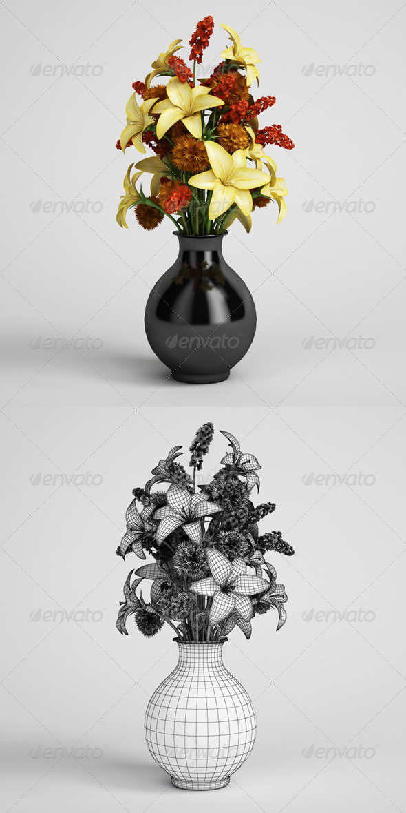 CGAxis Flower Bouquet in Vase 07 - 3DOcean Item for Sale
