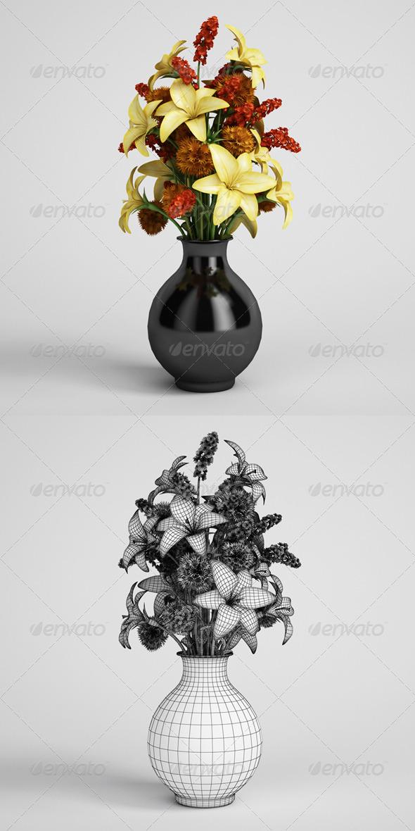 3DOcean CGAxis Flower Bouquet in Vase 07 164992