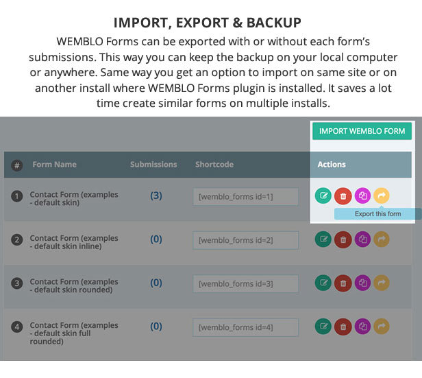 Export, Import and Backup Wemblo Forms with Just ONE Click