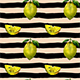 Vector Watercolor Lemons and Stripes Pattern