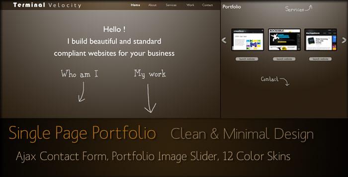 Terminal Velocity - Minimalistic Single Page Folio - Terminal Velocity - Clean & Minimal One page portfolio theme