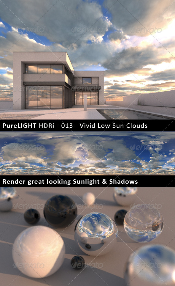 PureLIGHT HDRi 013 - Vivid Low Sun Clouds - 3DOcean Item for Sale