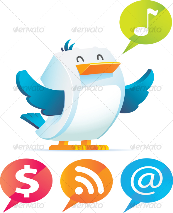 GraphicRiver Bird with talking bubble 55150