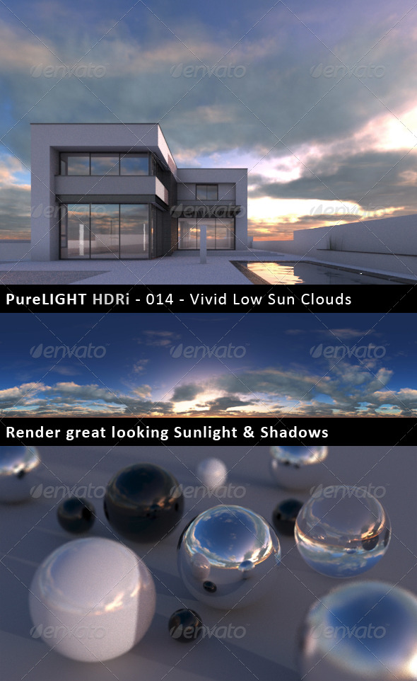 PureLIGHT HDRi 014 - Vivid Low Sun Clouds - 3DOcean Item for Sale