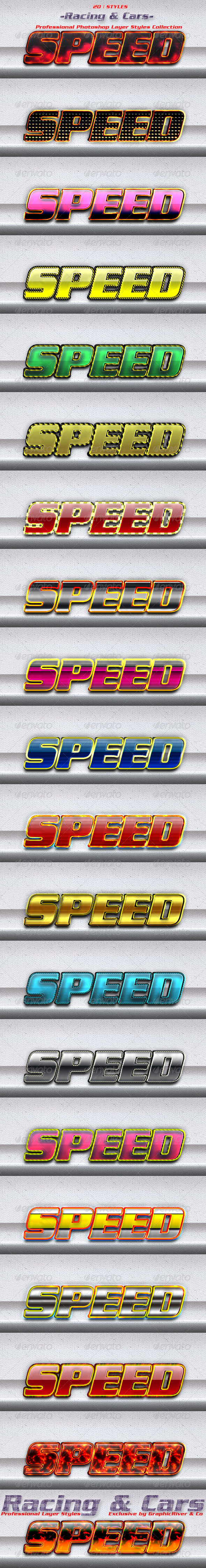 20 Game Photoshop Layer Styles | Racing & Cars - Text Effects Styles