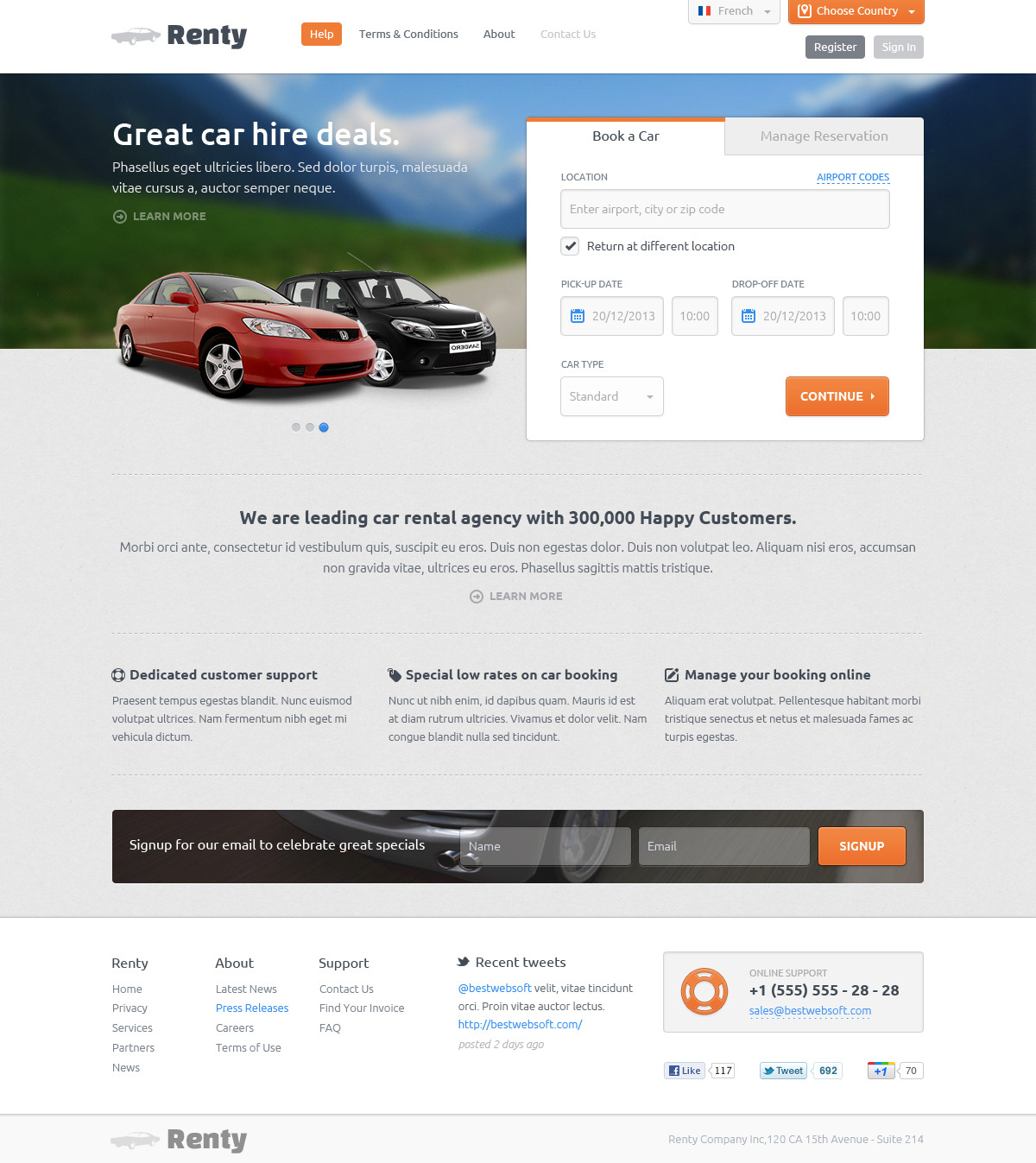 Renty Car Rental Amp Booking Html5 Template By