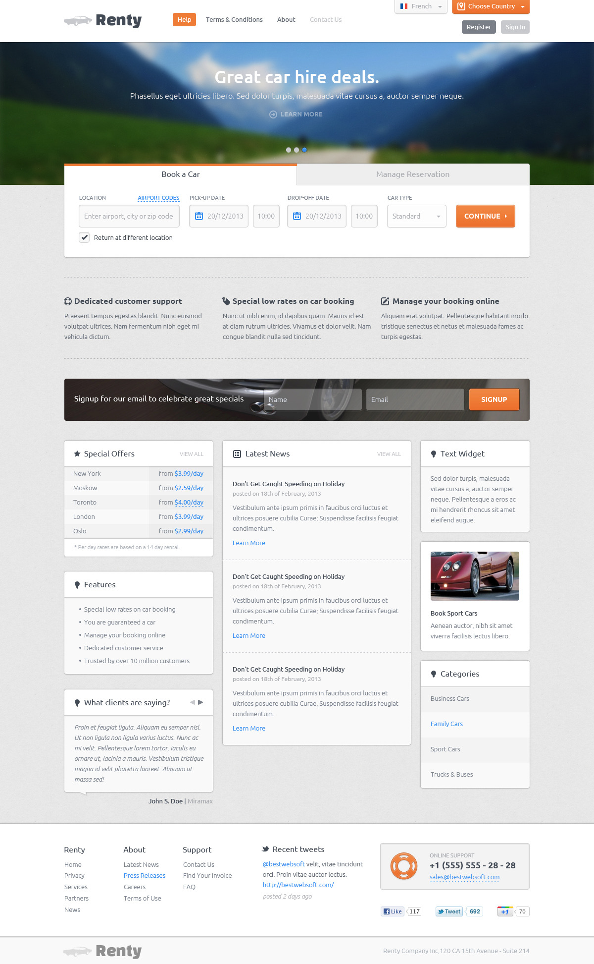 Renty - Car Rental & Booking HTML5 Template by ...