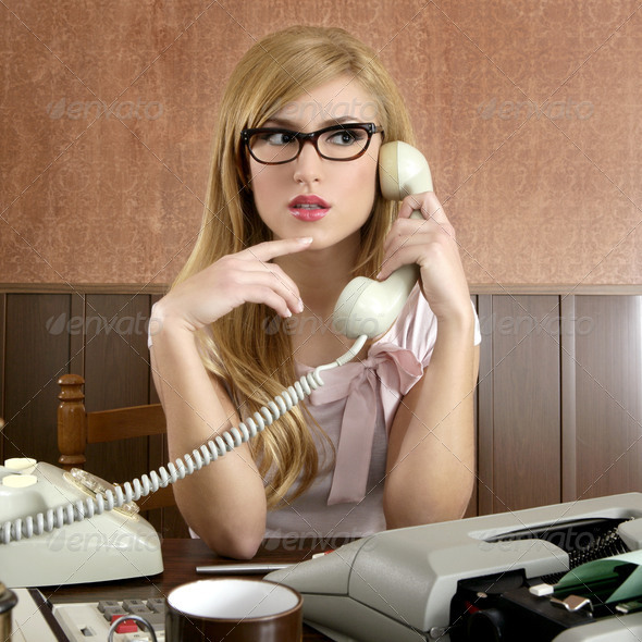 beautiful retro businesswoman vintage secretary - Stock Photo - Images