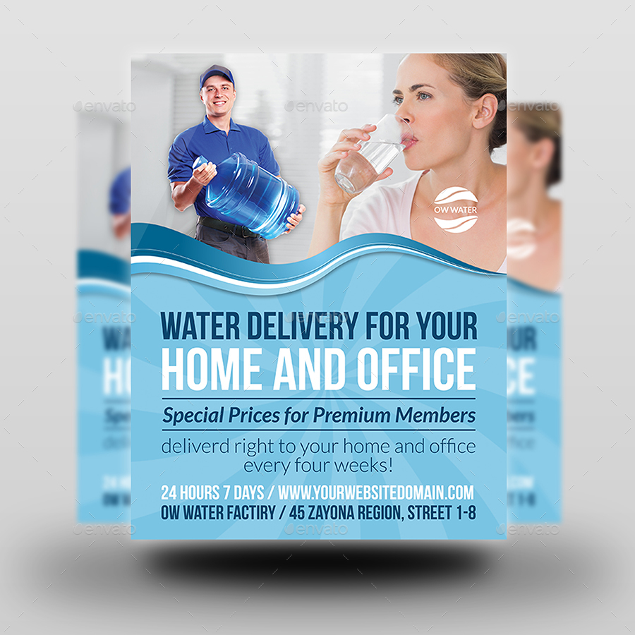Delivery Drinking Water Service Flyer by OWPictures | GraphicRiver