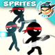Ninja Stickman Game Character Sprites 26