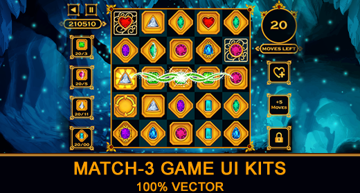 Match-3 Puzzle Game UI Kits