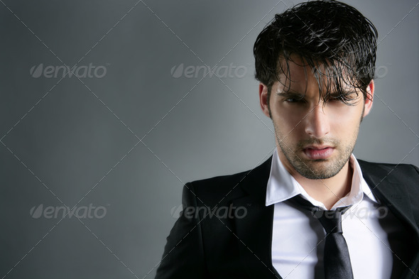 Fashion trendy suit young man hairstyle portrait - Stock Photo - Images