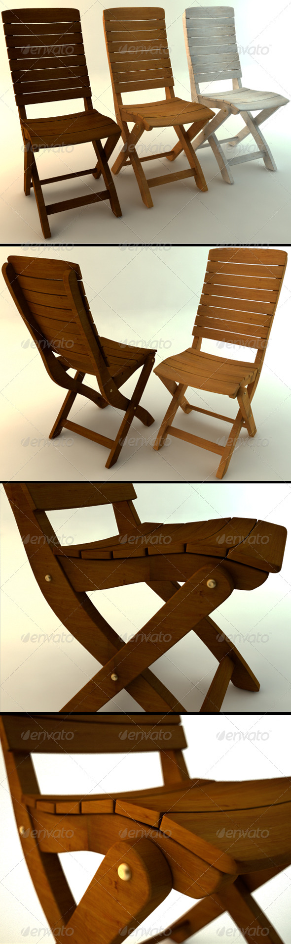 3DOcean Wooden Chair in Three Colors 165808