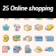 Online shopping color vector icons