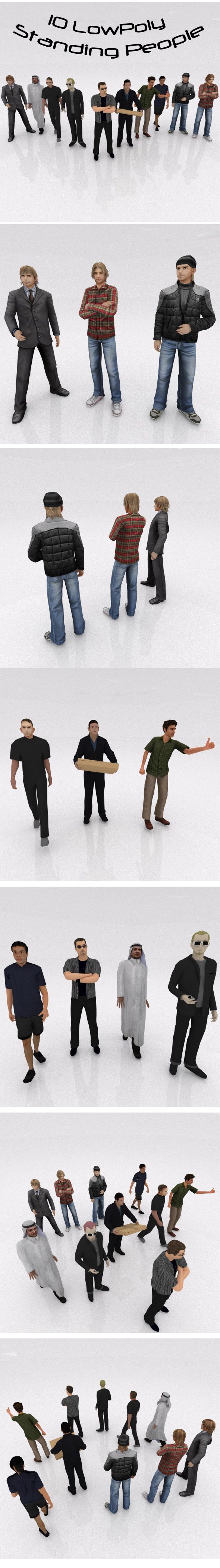 3DOcean 10 Low Poly Standing People 13969996