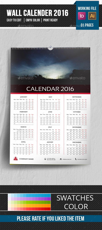 Wall Calendar Template 2016-V16